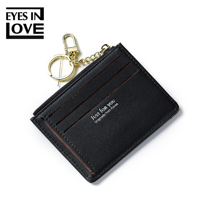 Multi Card Slots ID Card Holder Women Wallets Metal Ring Portable Mini Money Bag Business Card Purse black one size