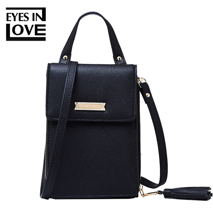 Tassel Kawaii Mini Crossbody Shoulder Bag Women Fashion Leather Phone Coin Small Handbag Clutch Bag black one size