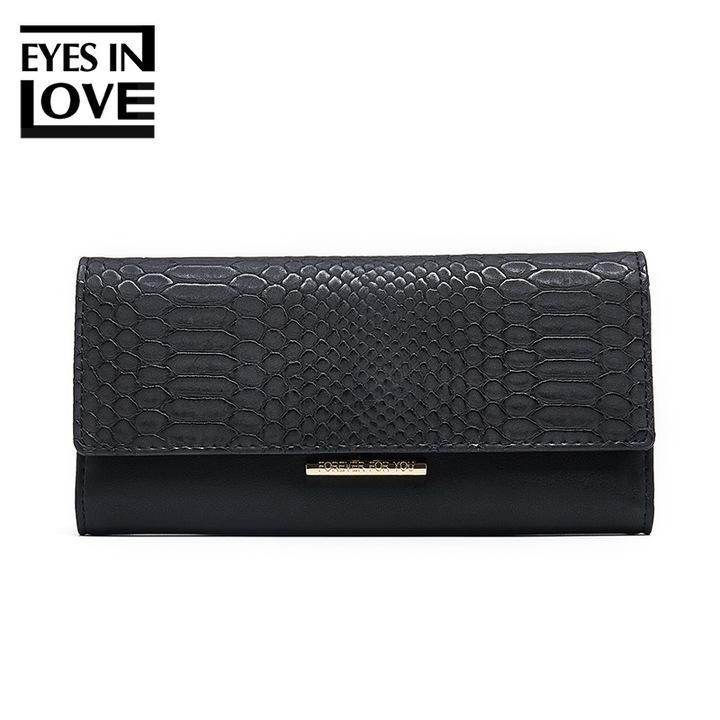 Women Wallets PU Leather Metal Lock Long Purses Luxury Elegant Clutch Bag Fashion Female Purse black one size