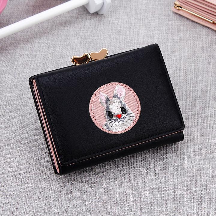 Creative Cartoon Wallet Simple Multi-card Short Purse PU Leather Women Wallets black one size