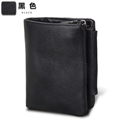 Crazy Horse Cowhide Genuine Leather Men Wallets Short Style Fashion Male Vintage Purse Clutch black one size