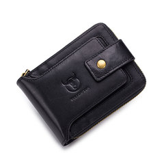 Men Genuine Leather Brand Wallet Male Coin Purse Pockets Slim Zipper Clamp Wallet Card Holder black one size