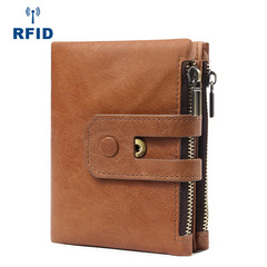 Brand Genuine Leather Men Rfid Wallet Small Men Clutch Wallet Zipper Hasp Male Short Coin Purse brown one size