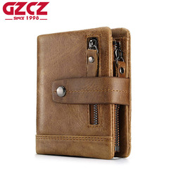 Men Genuine Leather Wallet Male Small Purse Coin Purse Pockets Card Holder Fashion Money Bag brown one size