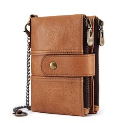 Genuine Leather Rfid Wallet Men Crazy Horse Wallets Coin Purse Short Male Money Bag Mini Wallet brown one size