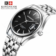 Men Watch Waterproof Date Clock Calendar Male Sports Watches Stainless Steel Wristwatch Quartz Watch silver black stainless strap