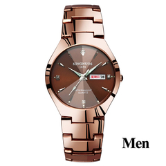 Lovers Watches Luxury Quartz Wrist Watch for Men Women Dual Calendar Week Steel Couple Watch Gift men coffee gold one size