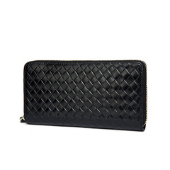 Men Genuine Leather Wallet Version Weave Purse Cowhide Male Fashion Wallet Long Clutch Hand Bag black one size