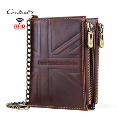 Crazy Horse Genuine Leather Men Wallets Vintage Double Zip Male Wallet Coin Purse Men Short Walet coffee one size