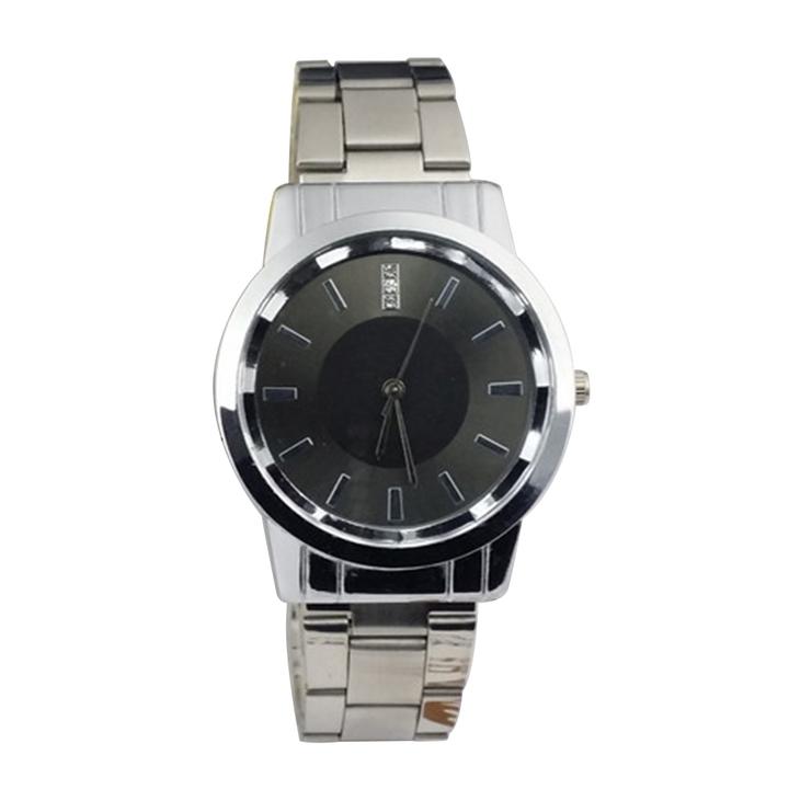 Men Watch Classic Stainless Steel Rhinestones Quartz Watches Women Mens Couple Lovers Wristwatch men black one size