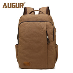 Men Vintage Canvas Backpack 15.6 inch Laptop Backpack USB Charging Notebook Travel School Backpack coffee one size