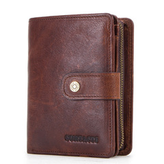 Genuine Leather RFID Vintage Wallet Men Coin Pocket Short Wallets Small Zipper Card Holders Purse coffee one size