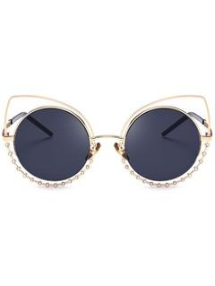 Metal Rhinestone Cat Eye Sunglasses