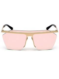 Semi Rimless Metallic Pilot Mirror Sunglasses