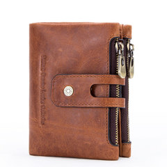 Genuine Leather Men's Wallet For Men Small Zipper Organizer Wallets Cash Pocket For Man Coin Purses brown one size