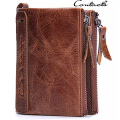 Genuine Leather Crazy Horse Cowhide Men Wallet Short Coin Purse Vintage Brand High Quality Wallets brown one size