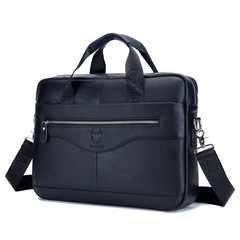 Fashion Cowhide Male Commercial Briefcase Genuine Leather Vintage Messenger Bag Casual Business Bag black one size