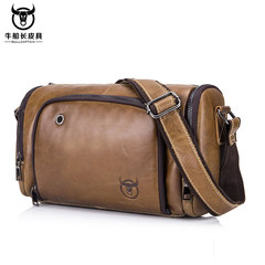 Fashion Genuine Leather Male Shoulder bags large capacity Crossbody Bags Brand men messenger bag brown one size
