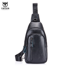 Fashion Genuine Leather Crossbody Bags men Brand Male Shoulder Bag casual chest bags messenger bag black one size
