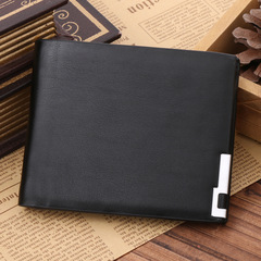 Men Stylish Business PU Leather Wallet Card Holder Coin Purse Male Wallet black one size