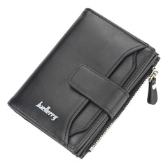 High Quality Leather Men Wallets Card holder Business Male Short Clutch Coin Pocket Money Purse black one size