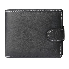 Men Wallet Short Cow Leather Multi-card Holder Coin Pocket Hasp Zipper Male Purse High Quality Purse black one size