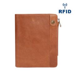 Men Genuine Leather Men Wallets Vintage Wallet Zipper Hasp Coin Pocket Cow Leather Purse RFID Wallet brown one size