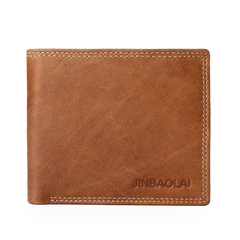 Cow Leather Male Wallet Vintage Double Suture Design Bifold Leather Wallets Men Hight Quality Purse brown one size