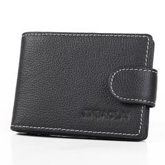 Genuine Leather Men Purse Slim Mini Wallet Fashion Male Card Holder Driving License Bag black one size