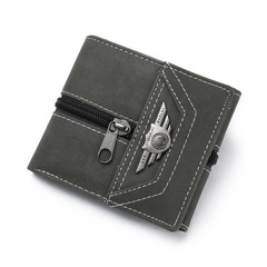 PU Leather Purse Small Man Mini Slim Wallets Zipper Hasp Money Bag Pocket Male ID Credit Card Holder black one size