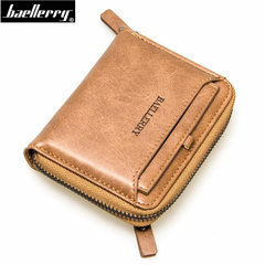 Short Wallet Men Top Quality Leather Men Wallets Multifunction Clutch Purse Coin Pocket Card Holder brown vertical