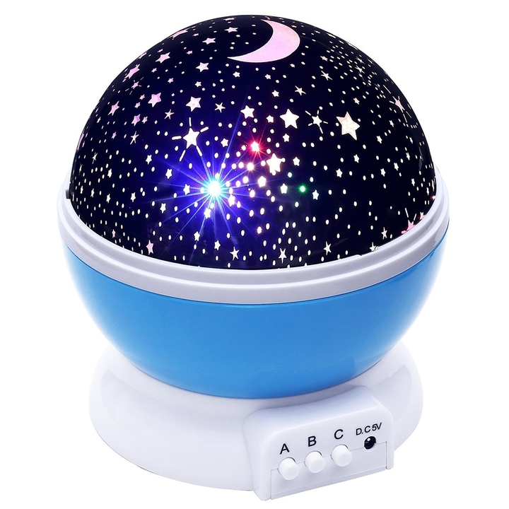 Rotate Night Light Projector Spin Starry Sky Star Master Children Kid Baby Sleep Led Lamp Projection blue 12cm LED