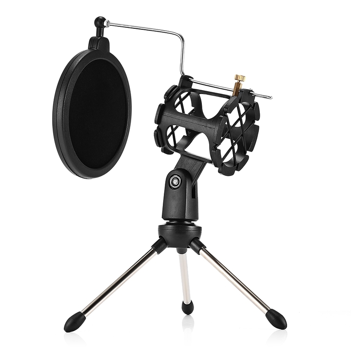 PS - 05 Adjustable Studio Condenser Stand Desktop Tripod for Microphone with Windscreen Filter Cover