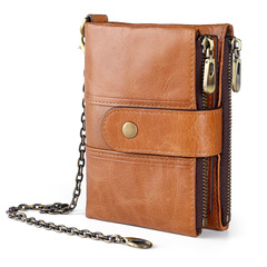 Quality Genuine Leather Rfid Wallet Men Crazy Horse Wallets Male Coin Purse Short Male Money Bag brown one size