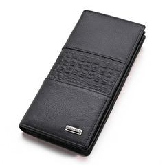 Genuine Leather Men Wallet Long Wallets Money Dollar Male Card Holder Purse black one size