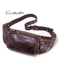 Men Fanny Waist Pack Genuine Leather Waist Bag Leg Hip Wallet Bum Bag Phone Pocket Shoulder Hand Bag