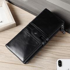 Women Clutch Fashion Wallets Cowhide Leather Female Long Wallet Zipper Cell Phone Pocket black one size