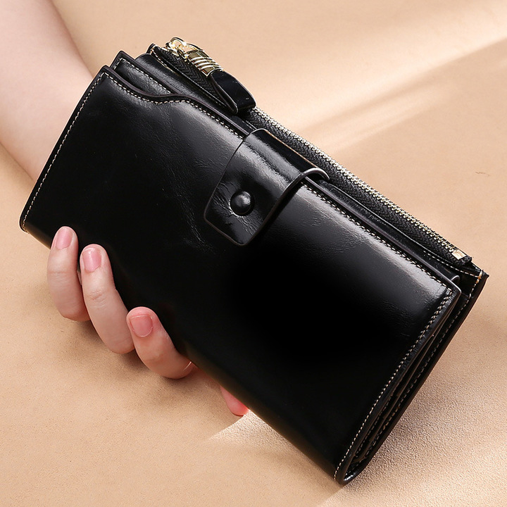 Cowhide Leather Rfid Anti-theft Brush Women Wallet Long Oil Wax Skin Mobile Phone Clutch Bag Leather black one size
