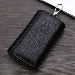 Genuine Leather Key Wallet Women Keychain Key Case Bag Men Holder Housekeeper Keys  Coin Purse black one size