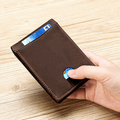Genuine Leather Money Clip Minimalist Men Wallets Male Slim Pocket Thin Dollar Wallet Card Holder brown one size