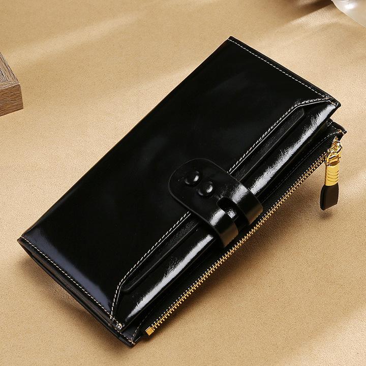 Women Clutch Genuine Leather Wallet Female Hasp Zipper Long Purse Multiple Card Holder Money Bag black one size