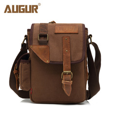 Fashion Canvas Leather Crossbody Bag Men Vintage Messenger Bags Large Shoulder Bag Casual Travel Bag coffee one size
