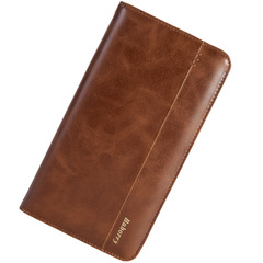 Men Clutch Wallet Casual Long Wallet Brand Luxury Zipper Purses Card Holder For Male Phone Pocket brown one size