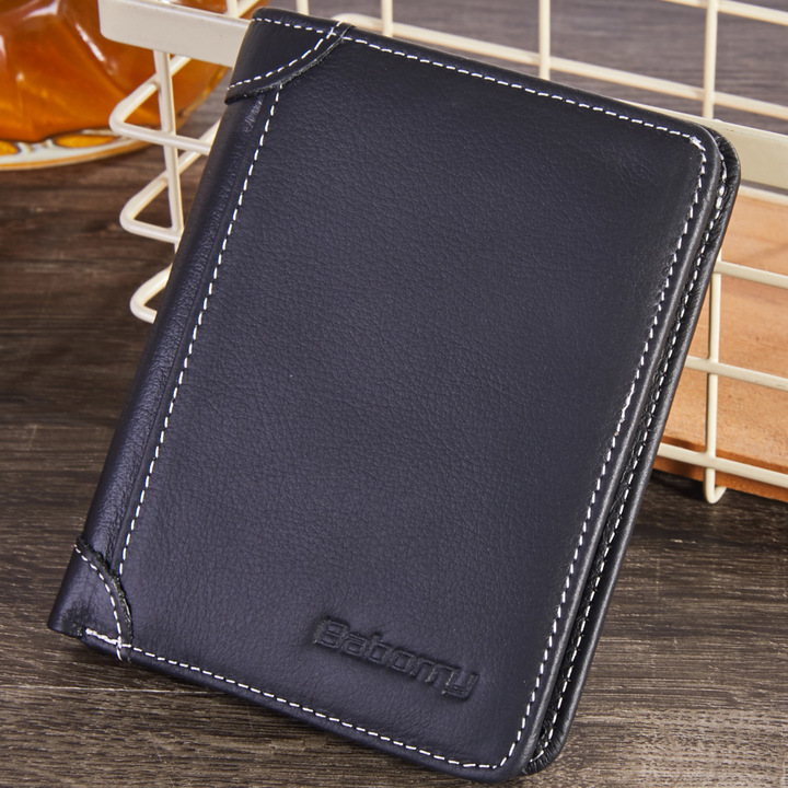 Cow Leather Men Wallets Coin Pocket Vintage Male Purse Function Genuine Leather Wallet Card Holders black one size