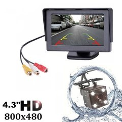 4.3 Inch TFT LCD Car Rear View Backup Monitor Camera Kit black one size