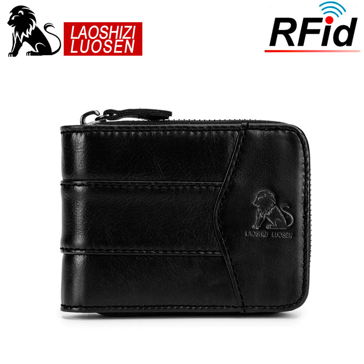 New Fashion Design Men High Quality Genuine Leather Wallet Cowhide Purse black one size