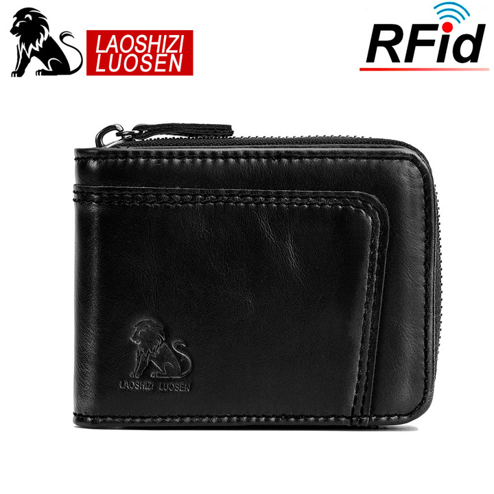 Genuine Cowhide Leather Men Wallets RFID Short Purse Male Card Holder black one size