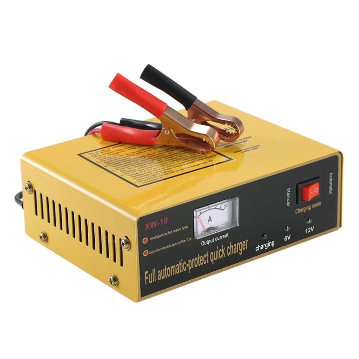 Intelligent Automatic LED Charger Pulse Repair Type Maintainer for Lead Acid Battery Lithium Battery yellow EU Plug