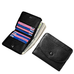 Genuine Leather Men Coin Wallet Slim Women Cowhide Small Purse Cards Hasp Coin Pouch Money Bag black one size