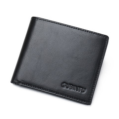 Genuine Leather Wallet Male Cow Leather Wallets Men Id Card Holder Short Purse black one size